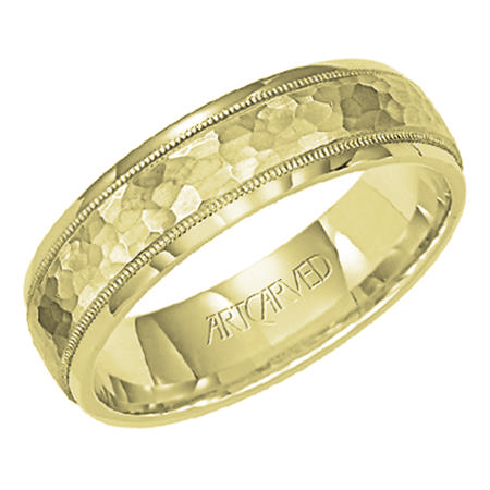 1d4a57d688daa ArtCarved Woodbridge 6mm 14k Yellow Gold Hammered Finish Band