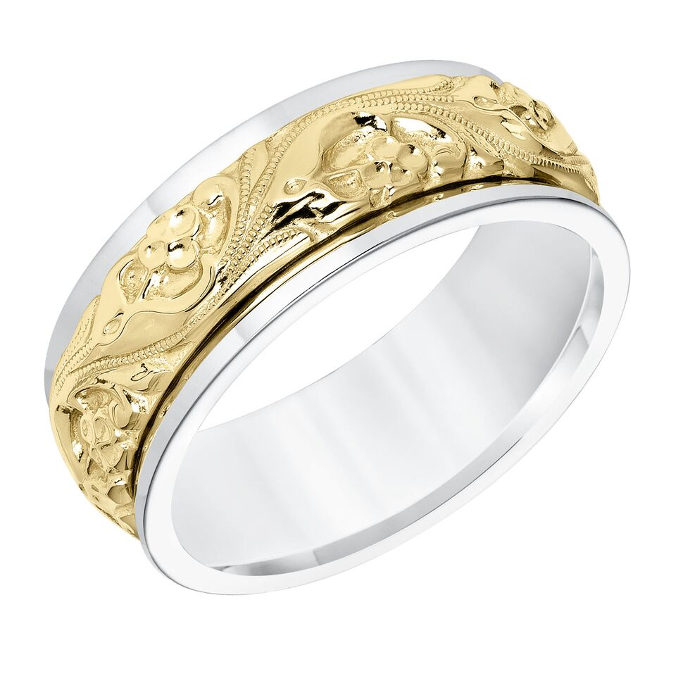 Artcarved Lyric 8mm 14k White Yellow Gold Inlaid Engraved Band