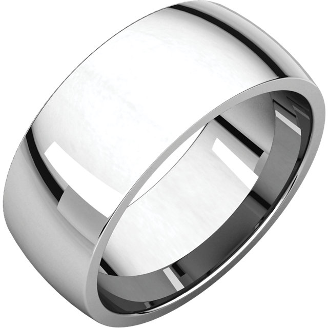 Stainless Steel Comfort Fit Half-Round Wedding Band Ring