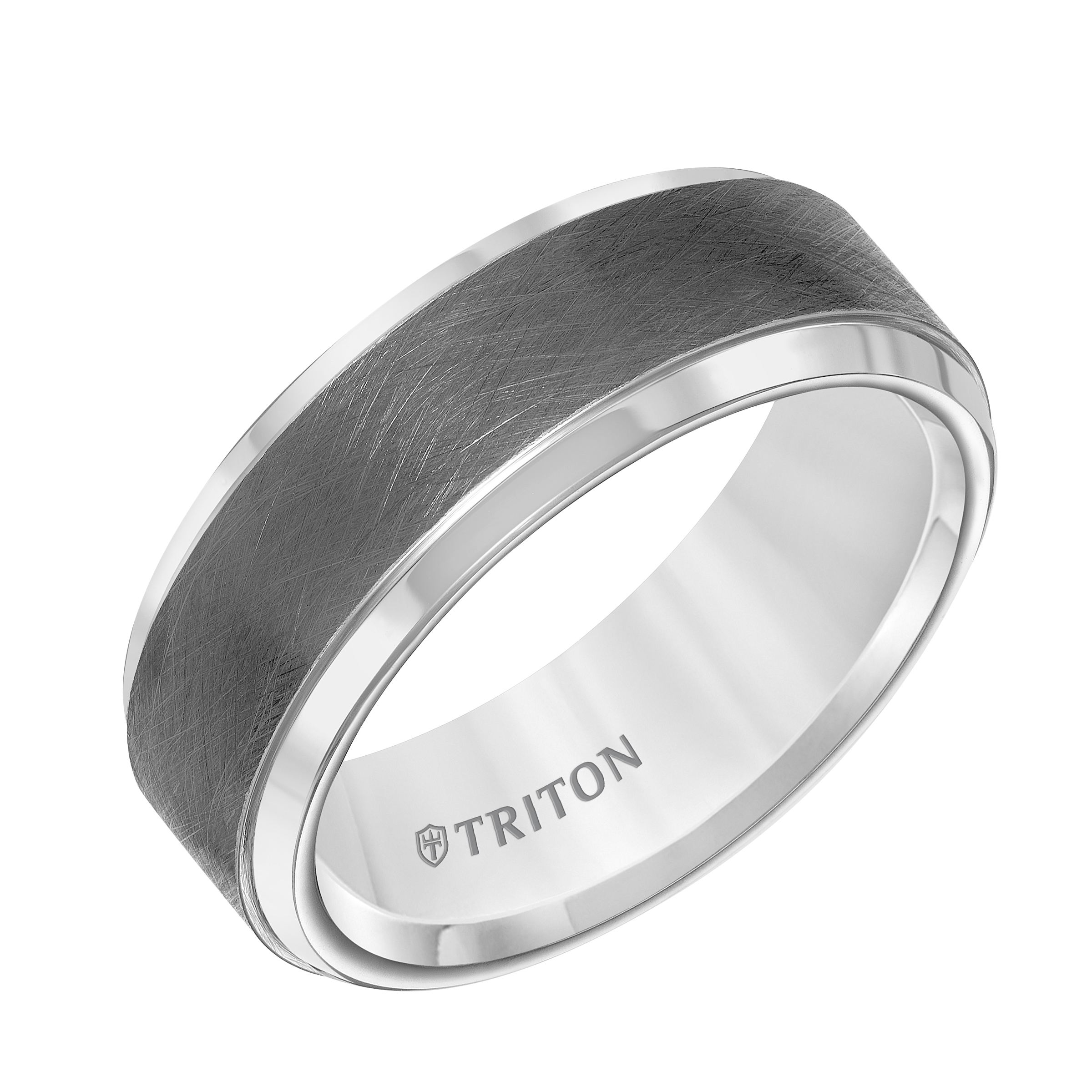 carbide rims beveled gunmetal tread tungsten band triton with fit and center comfort white rings design wedding mens gray