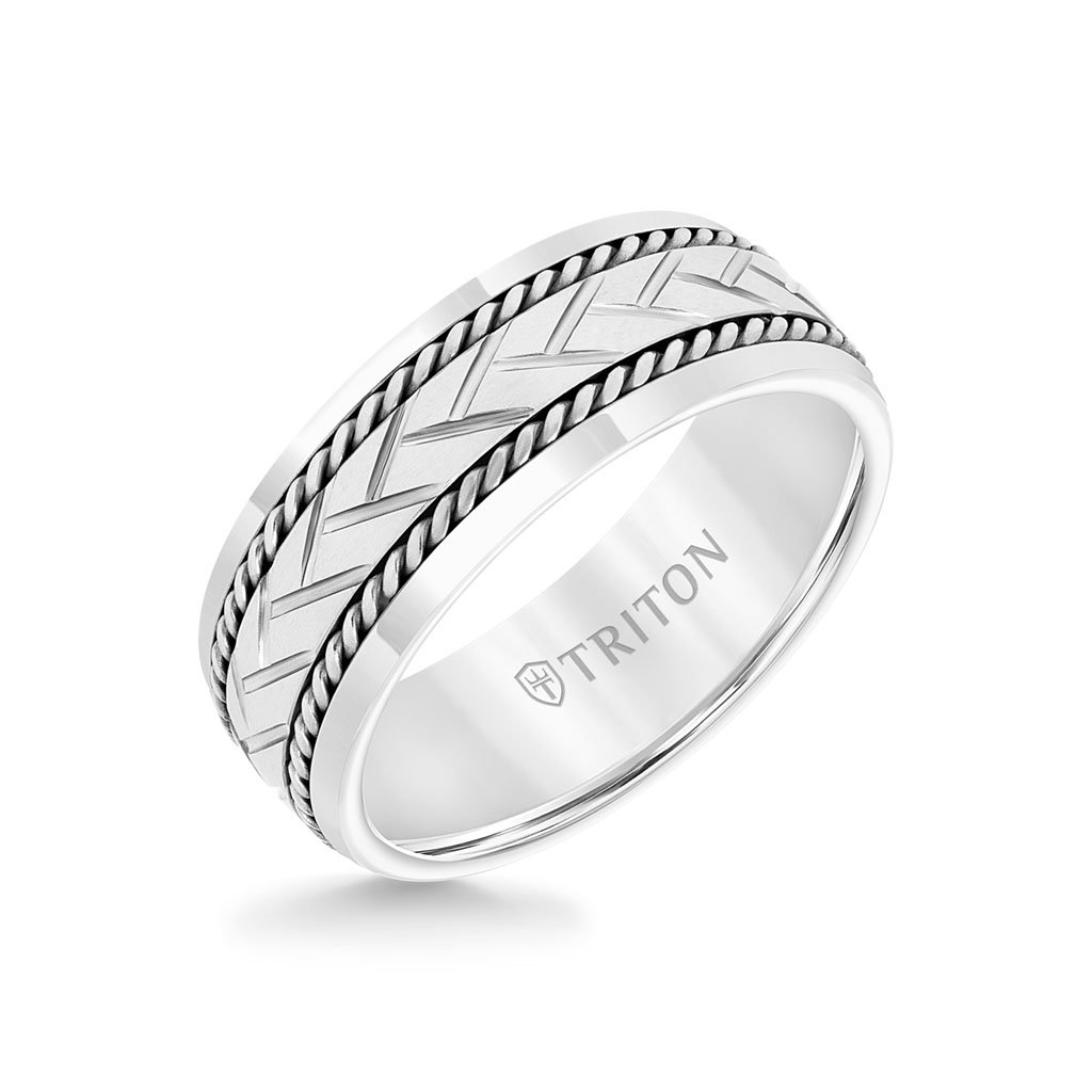 Triton White TC850 and Sterling Silver Rope Inlay Band