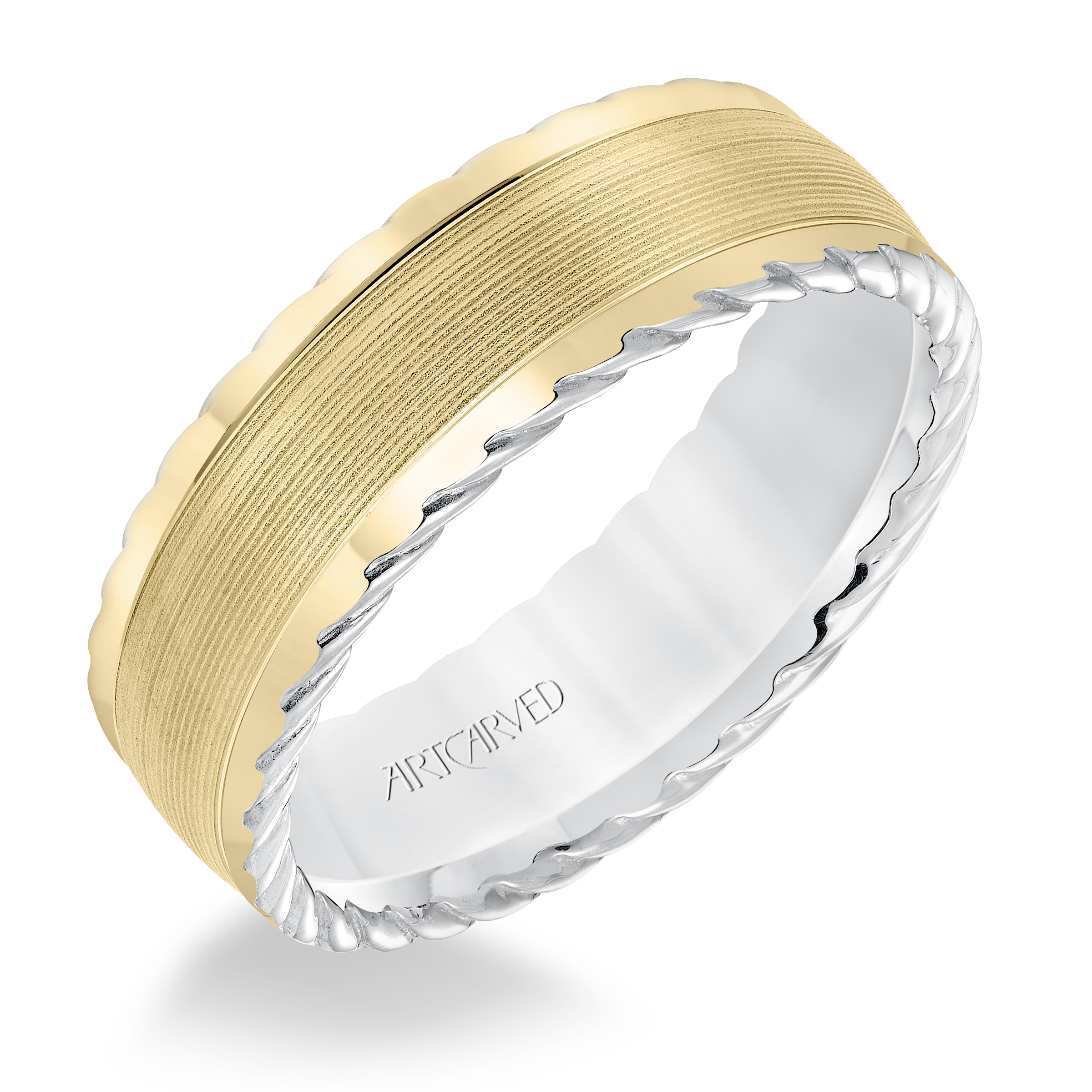 f06bd419431ee ArtCarved 7mm 14k White and Yellow Gold Serrated Pattern Roped Edge Band