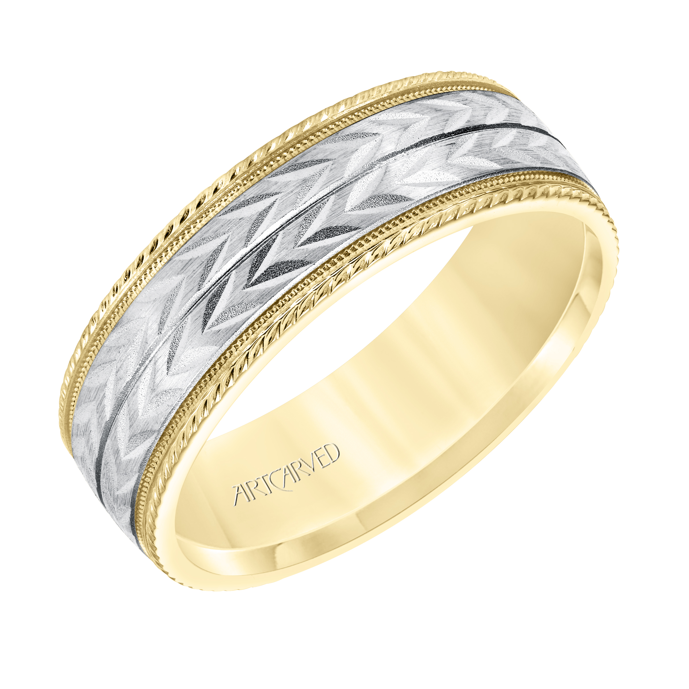 e9a65af10305e ArtCarved 7mm 14k Yellow and White Gold Double Wheat Leaf Opposing Pattern  Band