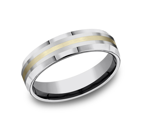 2b6561b7fbee3 Benchmark 6mm Tungsten with 18k Yellow Gold Inlay Beveled Edge Band