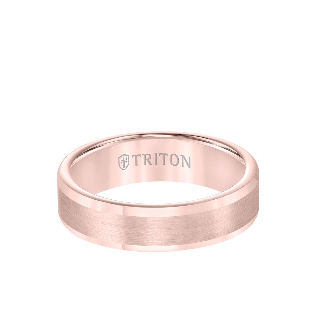 Triton Rose TC850 6mm Satin Finish Center Band - Mens Wedding Band Shop