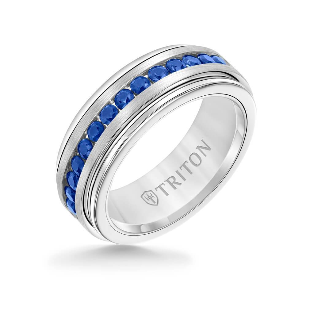 It is just an image of Triton Tungsten Carbide Raised Center 43mm Silver Inlaid 43.43ct Blue Sapphire Band