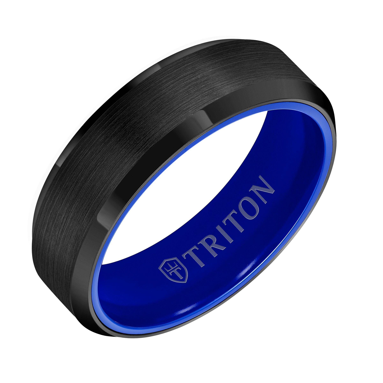 8mm Black Polished Tungsten Carbide Men Wedding Ring Beveled Edge Band Size 7-13